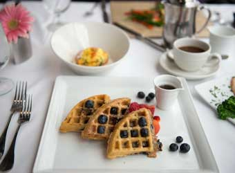Waffles at Brunch - Aerie Restaurant & Lounge